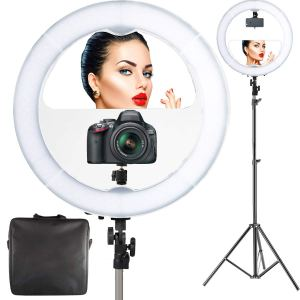 """18"""" LED Video Professional Makeup Mirror with Lights 6ft Stand Tripod & Adjustable Heavy Duty Mount"""