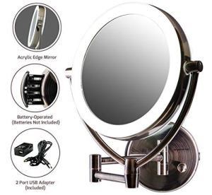 9.5 inch Ovente Wall Mount LED Lighted Makeup Mirror