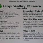 HopValley Beer Menu