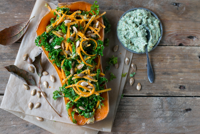 BUTTERNUT SQUASH SPAGHETTI SALAD WITH HEALTHY GREEN HERB PESTO