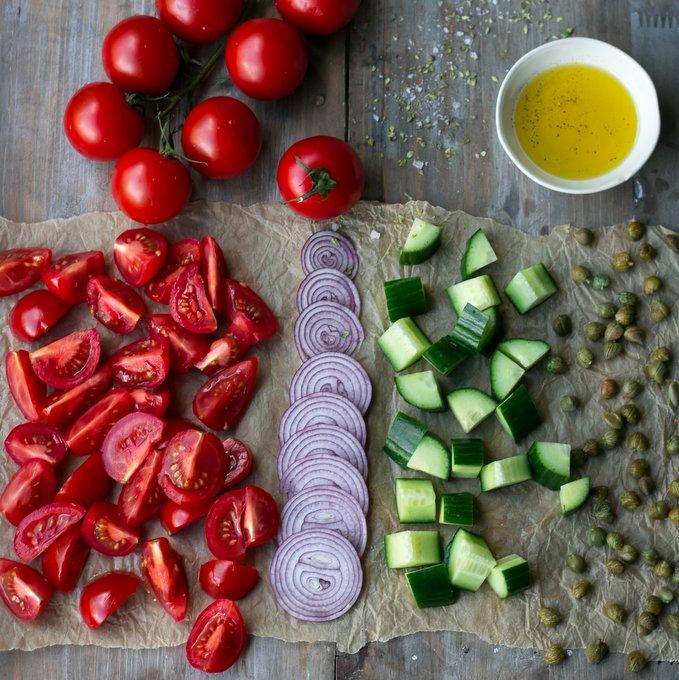 Greek salad with vegan feta cheese. Vegan, gluten-free, myberryforest.com
