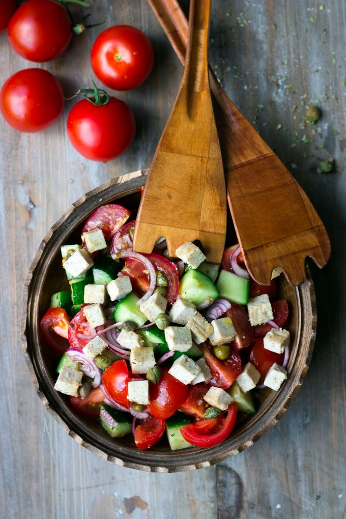 Greek salad with vegan feta cheese. Vegan, gluten-free, myberryforest.com