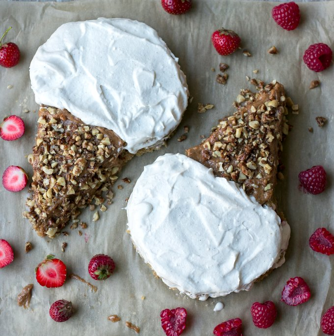 Vegan gluten-free berry caramel cake. Myberryforest.com