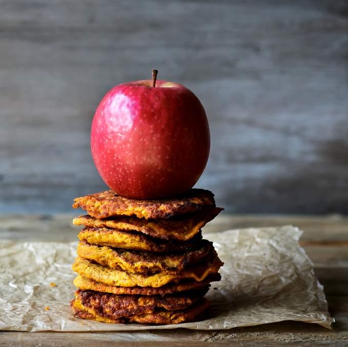 Caramel Apple Pancakes. Vegan, gluten-free, myberryforest.com