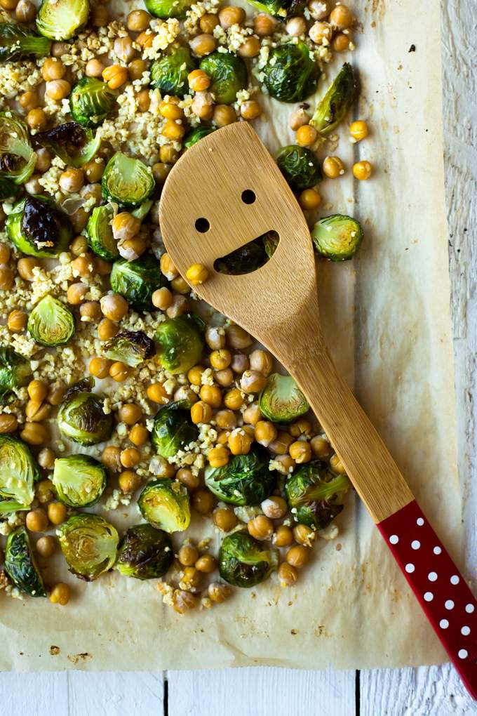 Winter Buddha Bowl with Brussels Sprouts & Vegan Cheese Crumble. Vegan, gluten-free, myberryforest.com