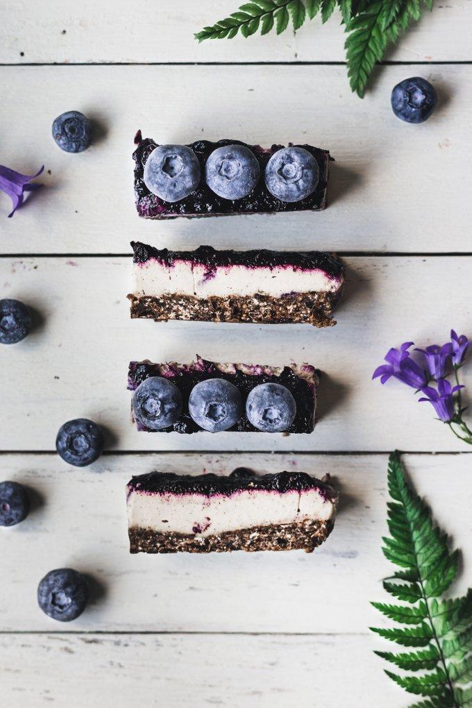 No bake chocolate-tahini cheesecake bars. Vegan, gluten-free, myberryforest.com