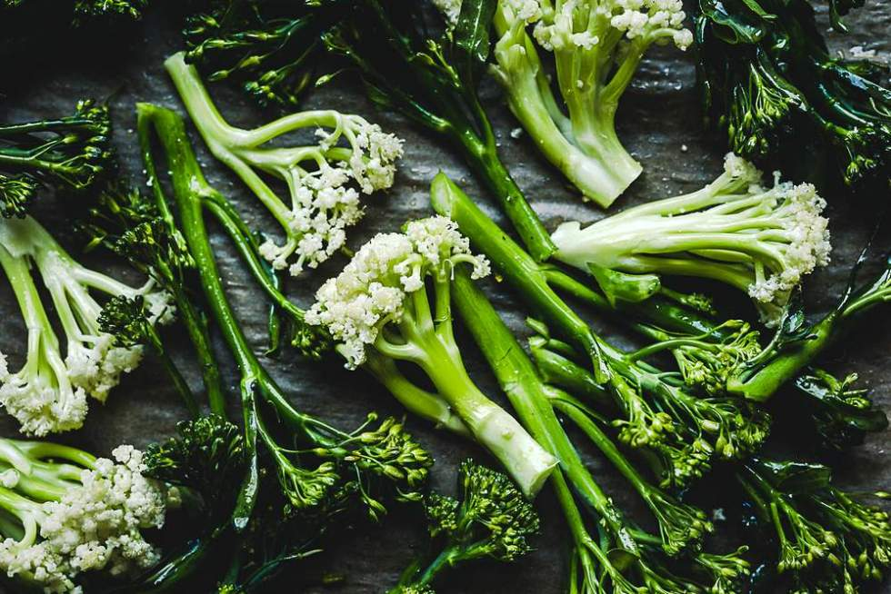 Vegan herb butter with roasted broccolini