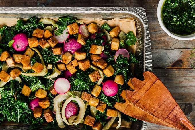 Roasted radish and fennel salad with chimichurri