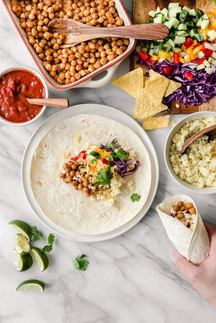 Vegaaniset kikherne-burritot