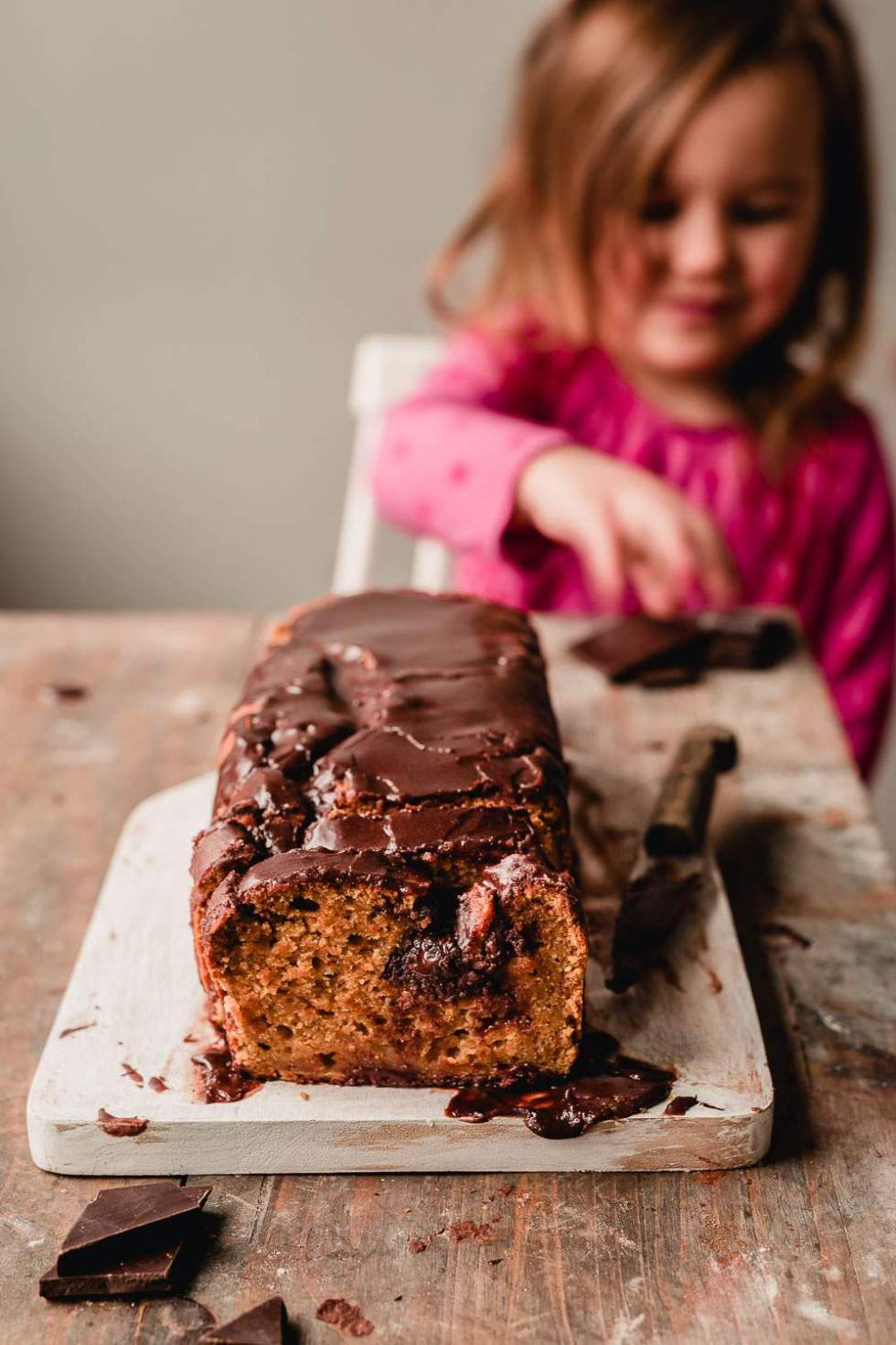 Vegan cardamom loaf cake with chocolate heart