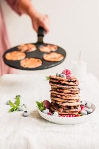 Vegan raspberry blueberry yogurt pancakes