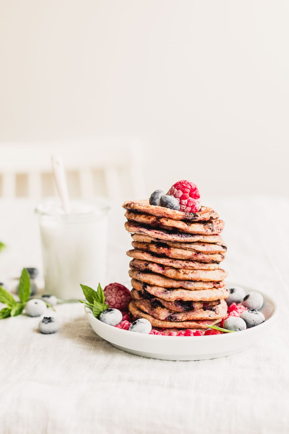 Vegan raspberry blueberry yogurt pancakes