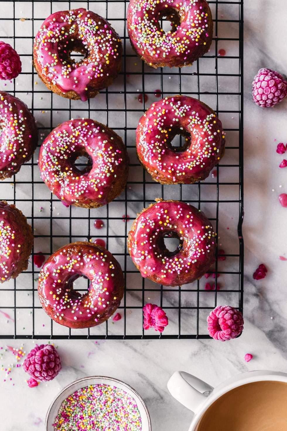 Vegan white chocolate cardamom donuts