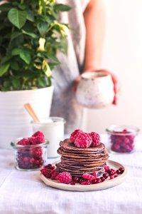 Healthy blueberry pie blender pancakes