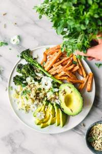 Sweet potato fries and broccolini buddha bowl
