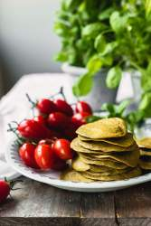 Oven baked gluten-free vegan savory spinach crepes