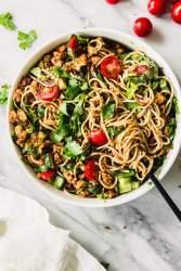 Tabbouleh tofu noodle salad