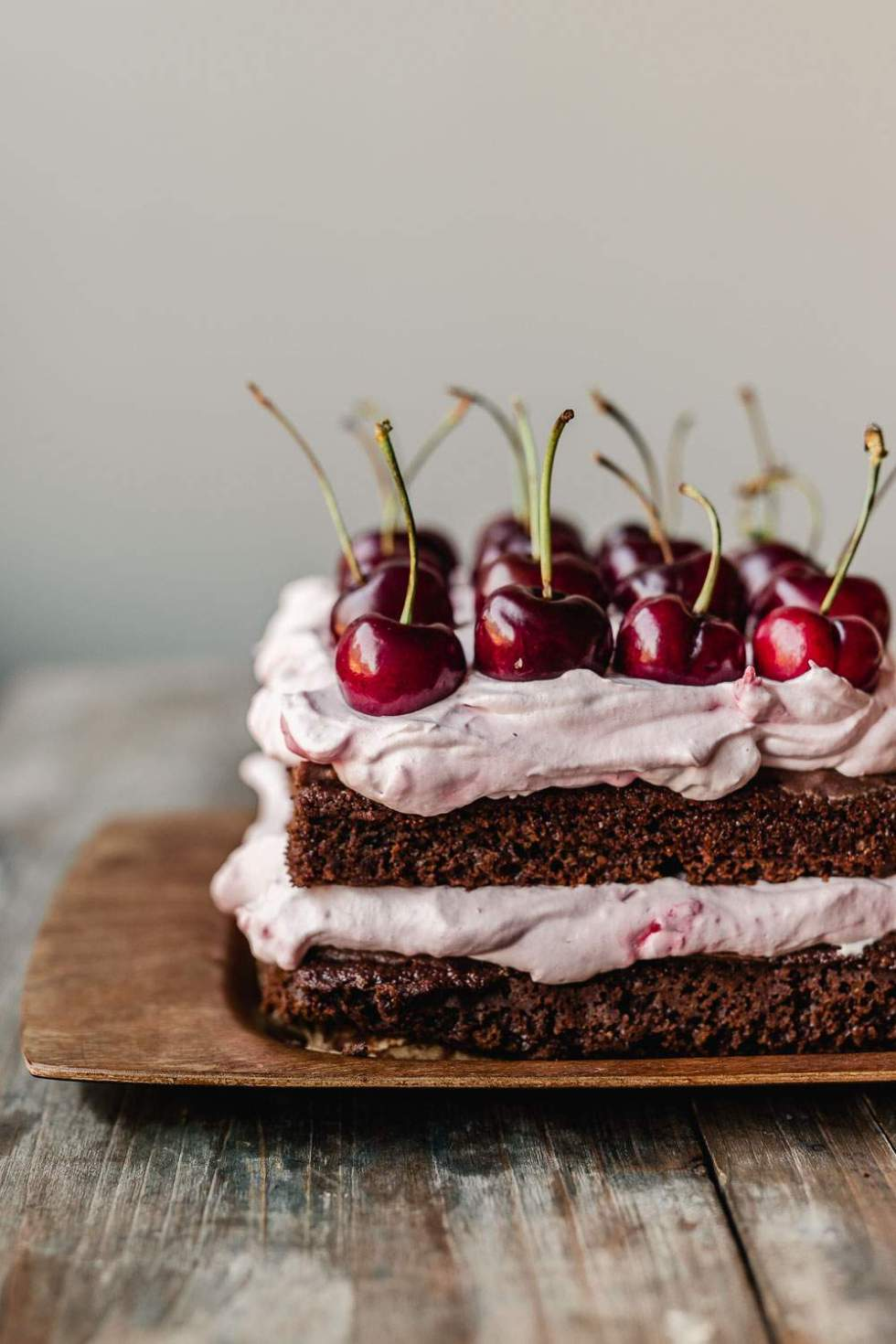 Vegan Black forest cherry cream cake