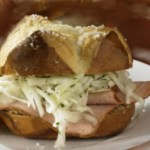 Oktoberfest Leberkas Meatloaf Sandwich with Cabbage Salad