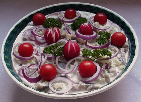german herring salad with potatoes