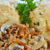 German Bread Dumplings with Chanterelle Sauce