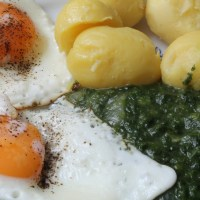 German Spinach Potatoes Fried Eggs