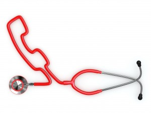 Stethoscope and a silhouette of phone