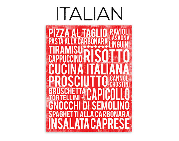 Italian food poster in subway art style