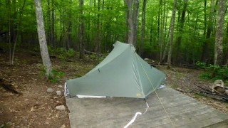 Tarptent set up on a platform at Sherman Brook Campsite