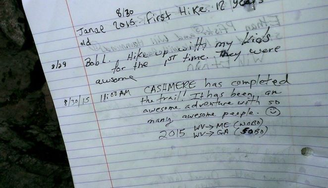 """Susan Cashmere Hornbuckle... finished her epic journey. This is her log in the AT trail book when she finished today. Congratulations Cashmere!!"""