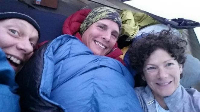 """Fun """"Girl Talk"""" time in Martha's tent while trying to stay warm. :) — with Lisa Belcher and Martha Johnson."""