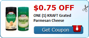 $0.75 off ONE (1) KRAFT Grated Parmesan Cheese