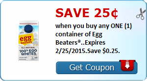 Save 25¢ when you buy any ONE (1) container of Egg Beaters®..Expires 2/25/2015.Save $0.25.