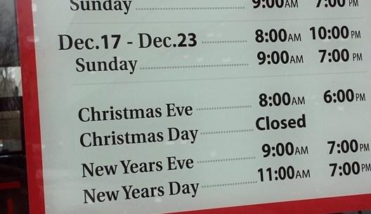 Christmas hours at bjs