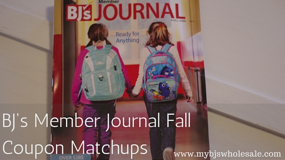 Bjs Member Journals Coupon Matchups for Fall 2016