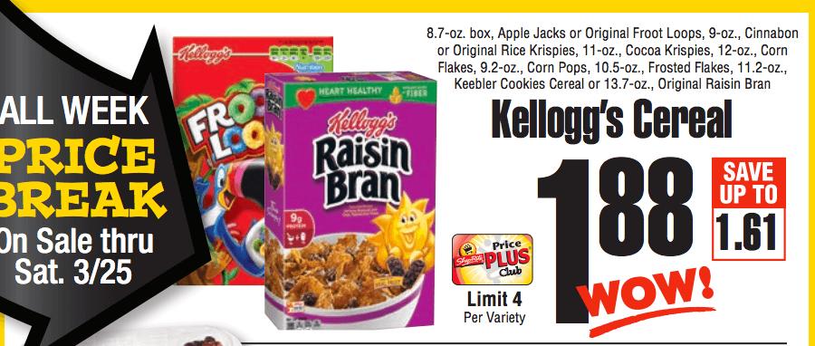 free kelloggs cereal at Shoprite