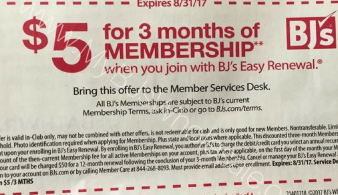 $5 membership for three months at BJs