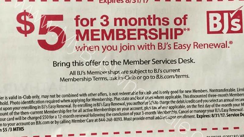 $5 membership for three months at BJs