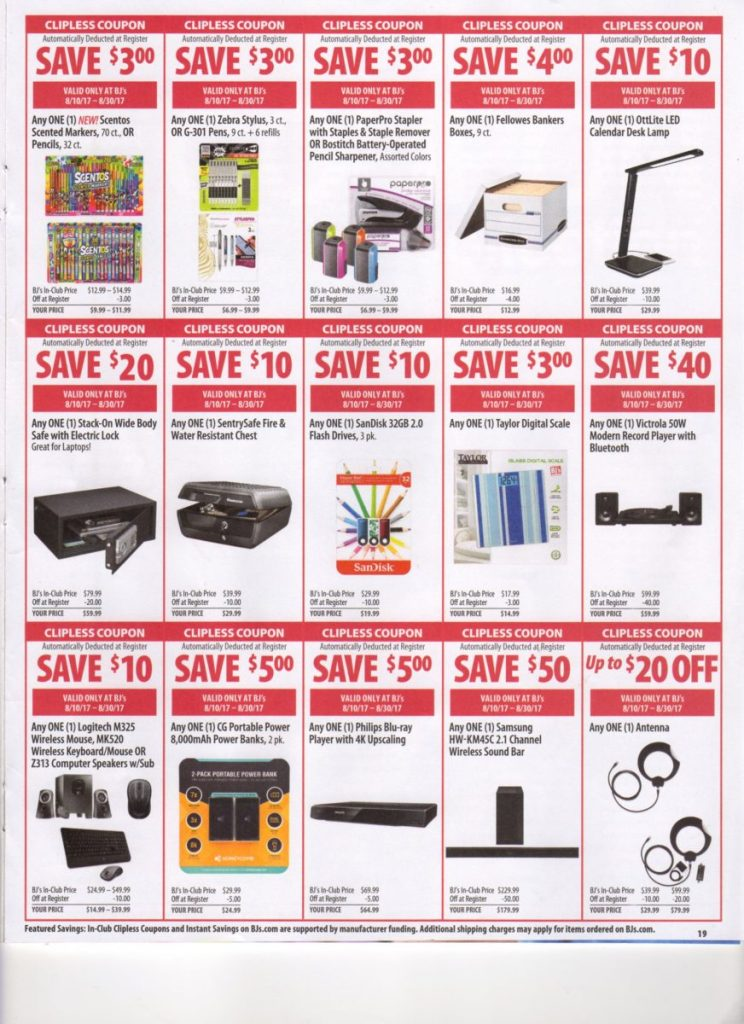 BJs front of club coupons and scan