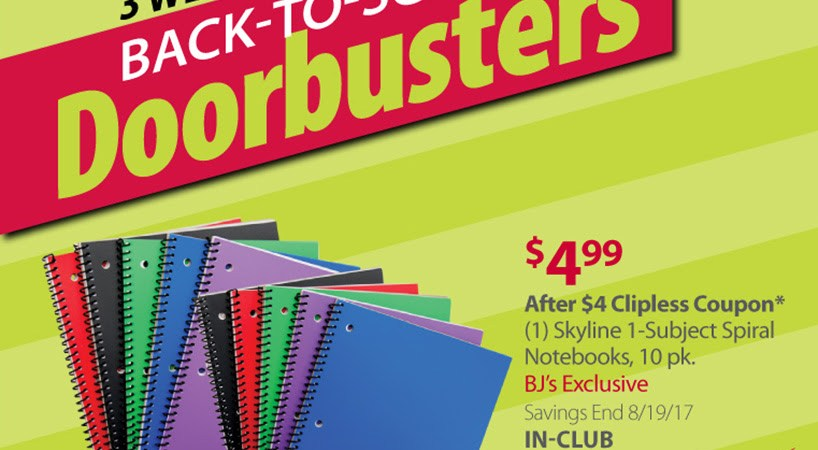 Bjs back to school notebook prices