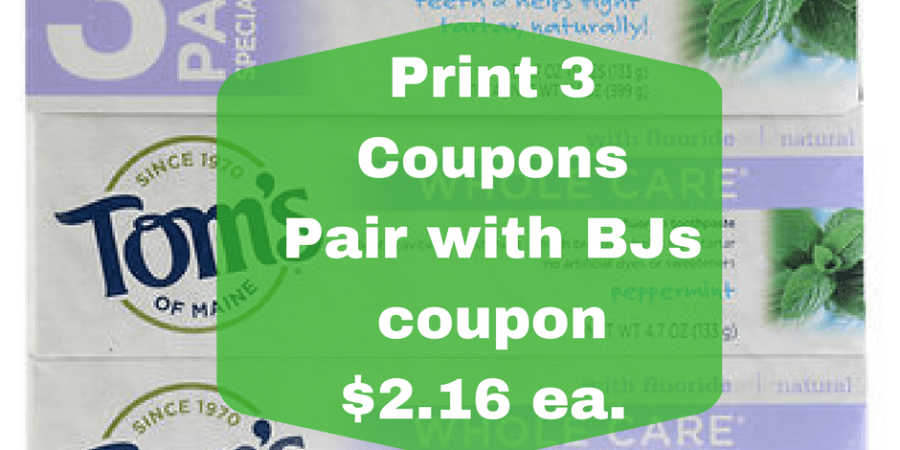 tom's of maine deal at BJs wholesale club coupons price
