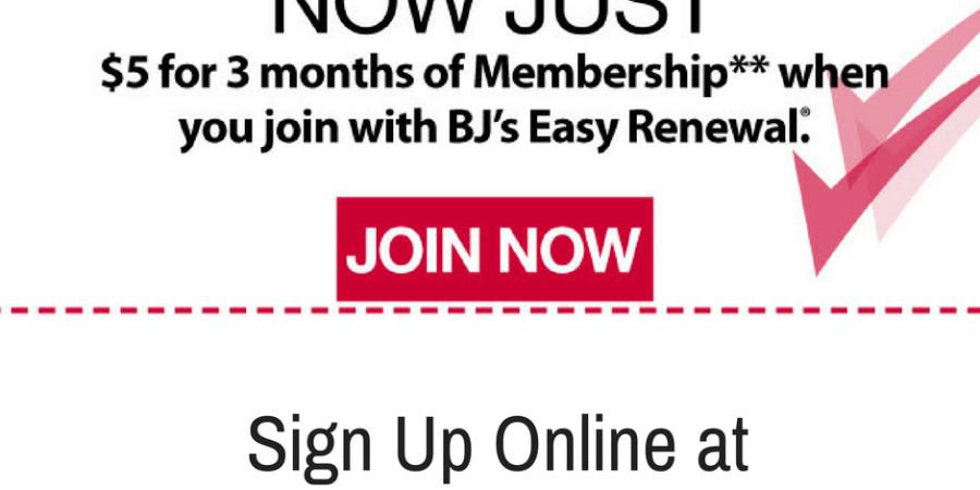 BJs membership discount $5 for three months
