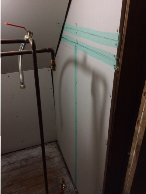 closet drywall taped