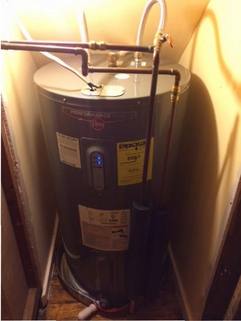 coat closet water heater reinstalled