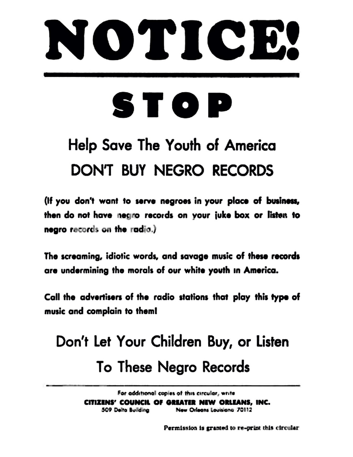 Notice Stop Help save the youth of America Don't buy Negro records