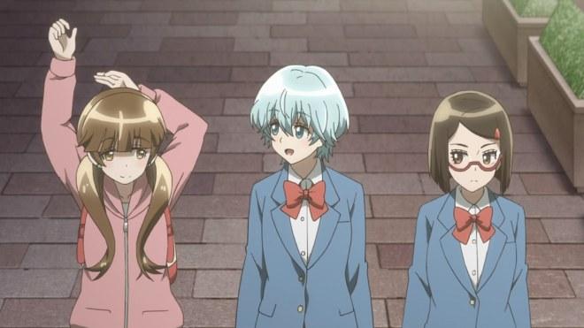The three main characters in Houkago Saikoro Club ep. 1
