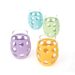 Lifefactory 11-Ounce Wine Glasses w/Multi-Colored Silicone Sleeves (Amazon) Image