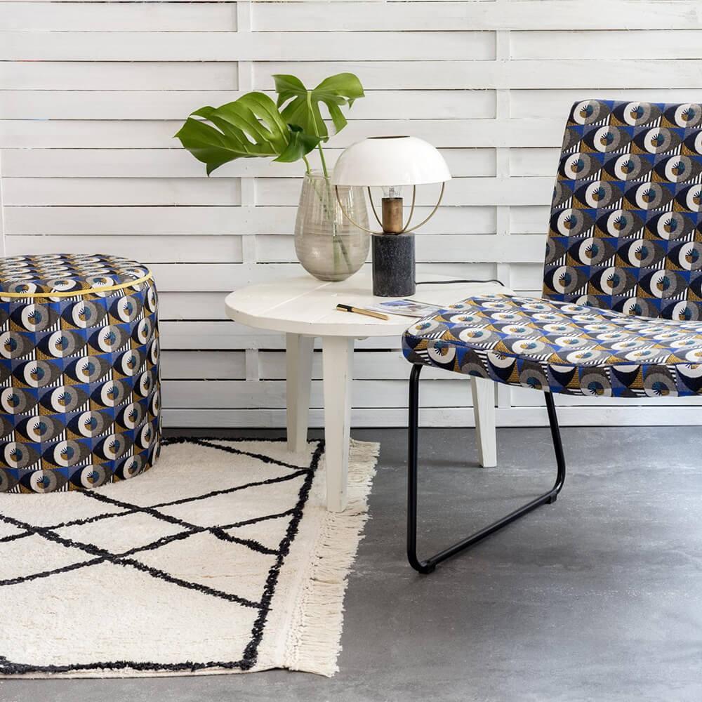 tapis style berbere marocain noir ecru losanges croises