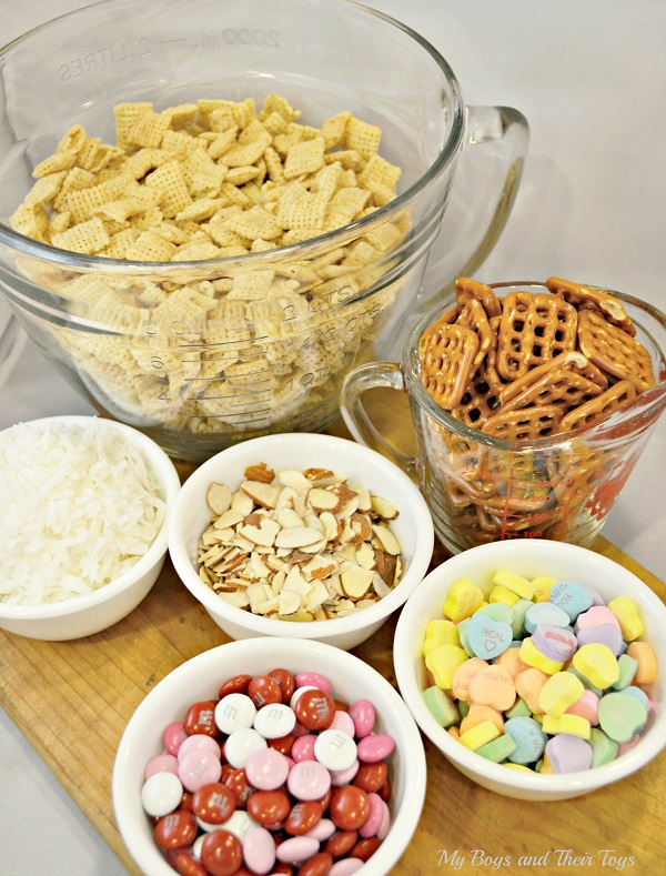 Coconut Almond Chewy Chex Mix supplies