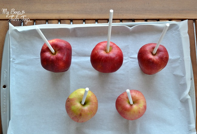 apples on sticks